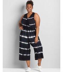 lane bryant women's livi sleeveless surplice tie-dye jumpsuit 34/36 black