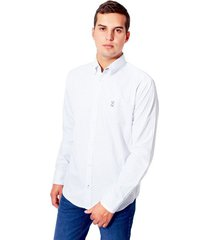 camisa spring manga larga tela popelina estampada jack supplies para hombre - blanco