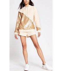 river island womens light pink sequin mix hoodie