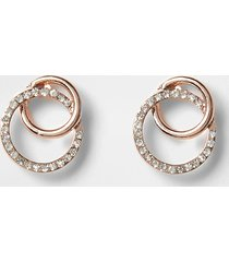river island womens rose gold colour diamante earrings