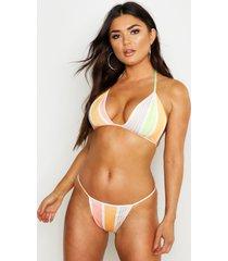 mix & match neon tanga bikini broekje met strepen