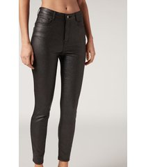 calzedonia faux leather skinny leggings woman black size s