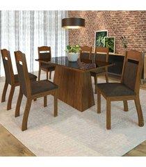 mesa de jantar 6 lugares alana zara seda/chocolate - viero móveis