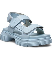 recycled rubber shoes summer shoes flat sandals blå ganni