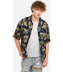 estilo de vacaciones de verano azul piña impreso playa moda hombre camisa