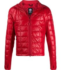 canada goose long sleeve fitted patent puffer jacket - red