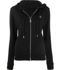 philipp plein crystal logo hoodie - black