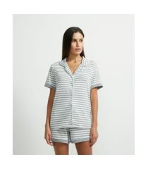 pijama blusa manga curta e short listrado | lov | cinza | gg