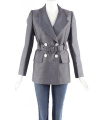 prada gray mohair wool belted double breasted blazer gray sz: s