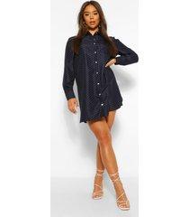 geweven oversized blouse jurk met stippen, marineblauw