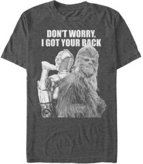 star wars men's classic chewbacca and c-3po i got your back short sleeve t-shirt