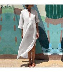 zanzea mujeres de profundo v 3/4 de manga larga vestido de algodón de las señoras de split suelta el vestido maxi kaftan -blanco