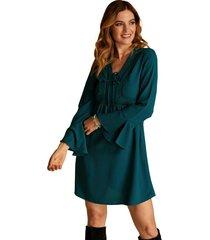 vestido boho macrame verde petróleo bunnys