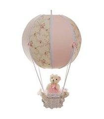 lustre baláo bolinha ursa quarto bebê infantil menina potinho de mel rosa
