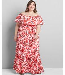 lane bryant women's multi-way off-the-shoulder poplin maxi dress 18/20p chantelle floral