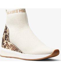 mk sock sneaker skyler in maglia stretch e pelle stampa serpente - panna (naturale) - michael kors