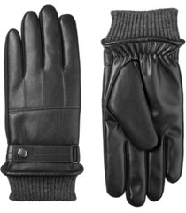 isotoner signature men's sleekheat belted faux nappa touchscreen gloves