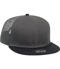 "otto superior cotton twill round flat visor ""otto snap"" six panel pro style mesh"