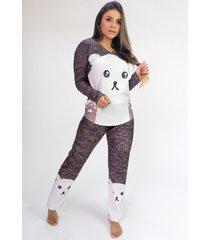 pijama de manga longa raglan estampa digital (fur) - ref: k2806 - multicolorido - feminino - dafiti