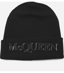 alexander mcqueen wool and cashmere hat with embroidered logo