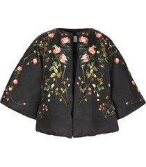 burberry rose-print mulberry silk cape - black