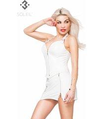 * soleil by xxx collection witte leren mini rok met rits aan de zijkant