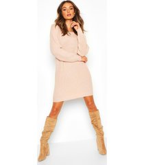 slash neck fisherman sweater dress, blush