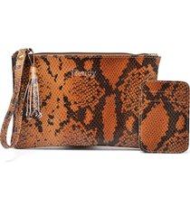 mini bag com porta-cartão hendy bag couro cobra caramelo