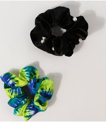 2pcs faux pearl tie dye scrunchies set