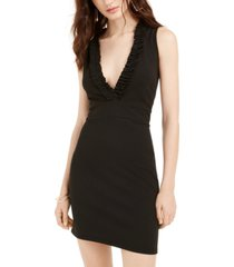 bebe juniors' deep-v ruffled bodycon dress