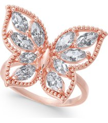 charter club crystal butterfly ring, created for macy's