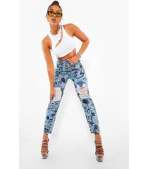gescheurde graffiti mom jeans met hoge taille, light blue