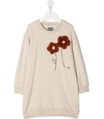 il gufo faux-fur flower dress - neutrals