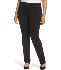 plus size women's nydj stretch knit straight leg trousers, size 14w - black