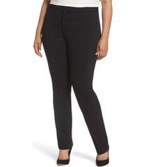plus size women's nydj stretch knit straight leg trousers, size 20w - black
