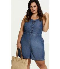 macaquinho feminino jeans plus size alças finas