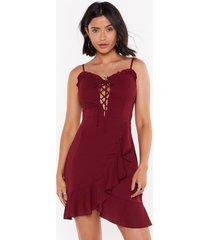 womens let's lace it ruffle mini dress - burgundy
