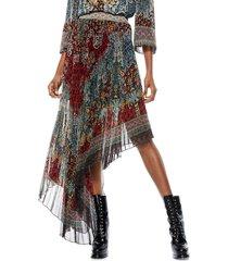 alice + olivia women's aida asymmetrical pleated skirt - always forever multi - size 2