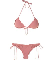 amir slama ruffled triangle bikini set - pink