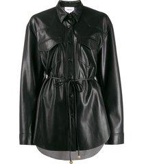nanushka tie-waist single breasted jacket - black