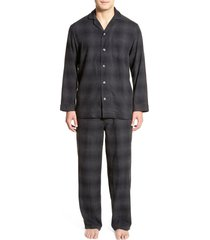 men's nordstrom 824 flannel pajamas, size small - black