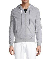 moschino men's lounge zip-up hoodie - blue - size xs