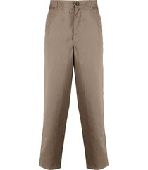 comme des garçons shirt straight leg cotton-blend trousers - green