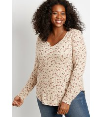 maurices plus size womens 24/7 ditsy floral split neck cozy tee beige