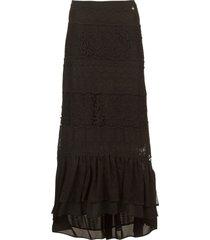 maxi rok met kant mediterane  zwart