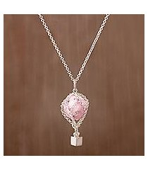rhodonite pendant necklace, 'up and away' (peru)