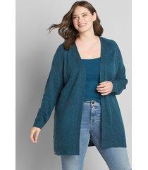 lane bryant women's open-front cardigan - button detail 14/16 multi blue
