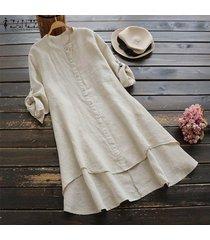zanzea mujeres de manga larga dobladillo irregular de la camisa vestido alto-bajo mini vestido más del tamaño -beige