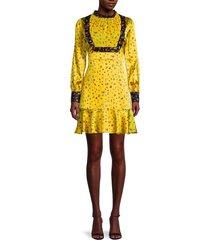 cynthia rowley women's printed silk-blend prairie dress - yellow - size 0