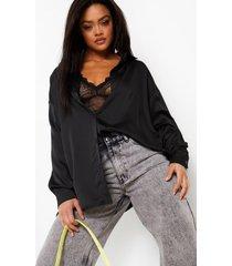 satijnen oversized blouse, black